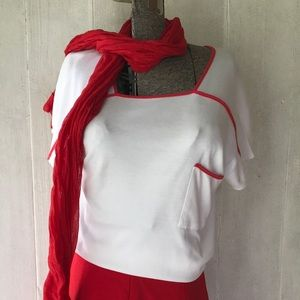 1970's Breezy Red Piped White T-shirt